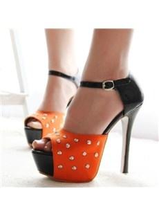 New Orange Stiletto Heels Peep-toe PU Upper Platform Women Shoes