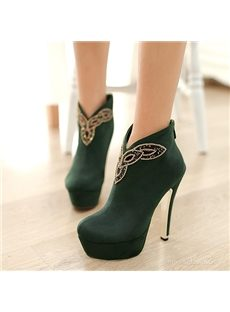 New Style Rhinestone Print Ankle Boots