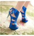 New Summer Platform Cut-out Lace-up Sandals
