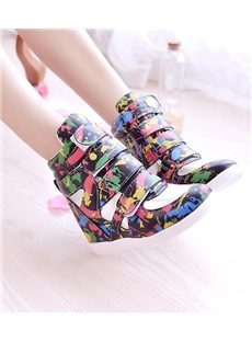 Newset Multicolor Pattern Inside Heel Sneakers