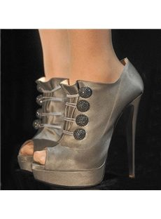 OL Style Buttons Peep-Toe Ankle Boots