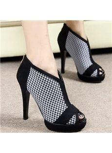 Office Ladies' Favorite Peep-Toe Ankle Boots