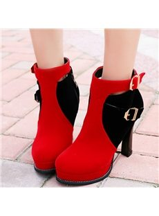 Office Wearing Contrast Color Buckle Ankle Boots
