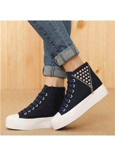 Particular Rivets Zipper High-Top Canvas Shoes