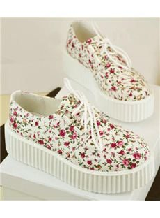 Pastoral Comfortable Calico Lace-up Canvas