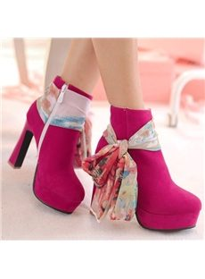 Pastoral Ribbon Round Toe Ankle Boots