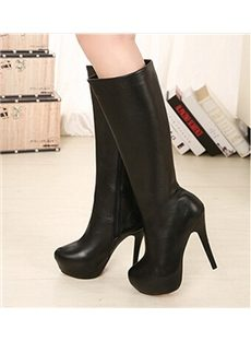 Perfect Solid Color PU Knee High Boots
