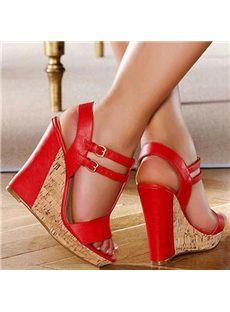 Plain Red Ankle Strap Wedge Sandals