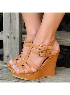 Plain Solid Color Ankle Straps Wedge Sandals