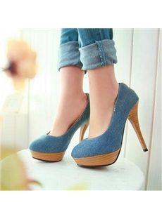 Plain Zipper Round-Toe Platform Heels