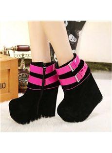 Popular Contrast Color  Platform Heel Ankle Boots