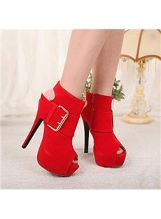 Precious Cut-Outs Peep-Toe Ankle Boots