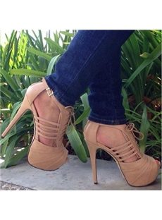 Prepossessing  Lace-Up Peep-Toe Platform Sandals