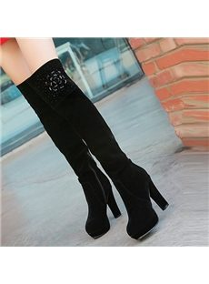 Prepossessing Rhinestone Print Knee High Boots