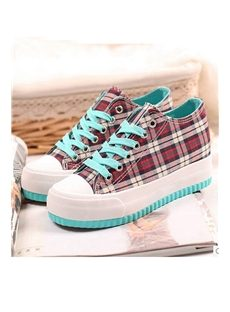 Pretty Plaid Low-cut Canvas Womens Elevator Shoes