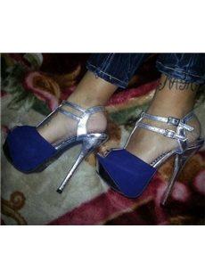 Ravishing Contrast Color Suede Platform Sandals