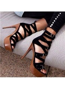 Ravishing Cut-Outs Cloth Platform Sandals