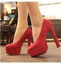 Red  Platform Chunky Heels