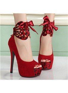 Red Platform Peep-toes Stiletto Heel with Cross Straps