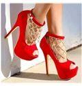Red Suede Platform High Heel Shoes with Rhinestone