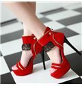 Red Suede Zipper Platform Sandals