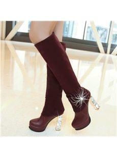 Remarkable Rhinestone Chunky Heels Knee High Boots