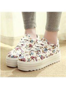 Retro Floral Prints Canvas Shoes