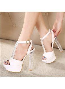 Retro Peep Toe Rhinestone Lace Strap Platform Sandals