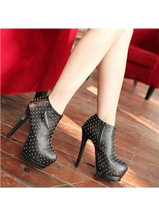 Retro Rivets Black Ankle Boots