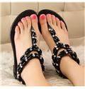 Rhinestone Ankle Strap Flat Sandals