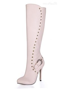 Rivets Decorated Stiletto Heel Knee High Boots