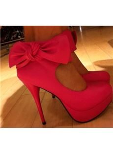 Rose Suede Lovely Bowtie Ankle Strap High Heel Shoes