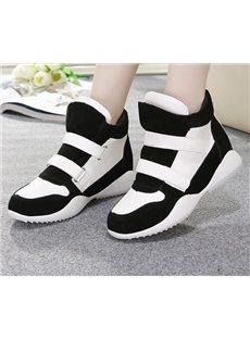 Round  Toe Elevator Heel Patchwork Sneakers