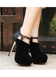 Round-Toe Stiletto Heel Hollow Ankle Boots