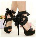 Satin Peep Toe Stiletto Heels Platform Dress Sandals