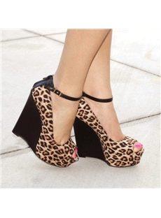 Sexy Beautiful Women's Leopard Grain Wedge Heels