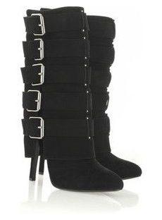 Sexy Black Buckle High Heels Boots