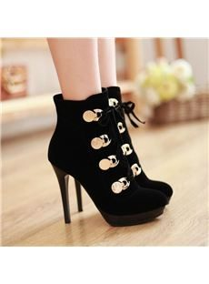 Sexy Black Cross Strap Ankle Boots