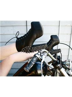 Sexy Black High Heels Ankle Boots with Rivets