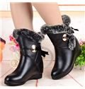 Sexy Black Metal Lace-Up Wedge Heel Snow Boots