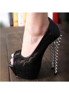 Sexy Black Sky-High Mesh Upper Peep-toe Stiletto Heels with Rivets