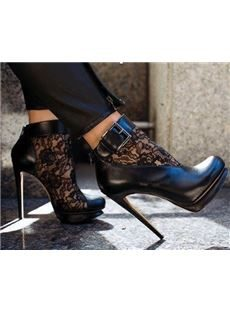 Sexy Black Suede Lace Cut-Outs High Heel Boots