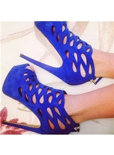 Sexy Blue Cut-Outs Platform Ankle Boots