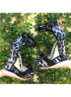 Sexy Buckles Leopard Wedge Sandals