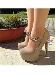 Sexy Club Wear Metal Chain Platform Heels