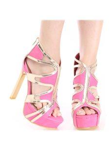 Sexy Contrast Color Cut-Outs Platform Sandals