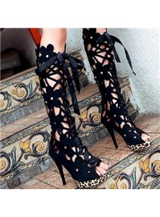 Sexy  Flower Cut-Outs Peep-Toe Stiletto Heel Boots