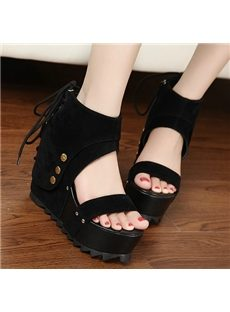 Sexy Girl Lace-Up Bowknot Wedge Sandals