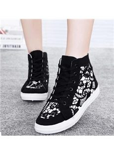Sexy Lace High-top Canvas Shoes
