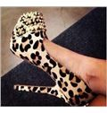 Sexy Leopard Suede Round Toe Rivets High Heel Shoes